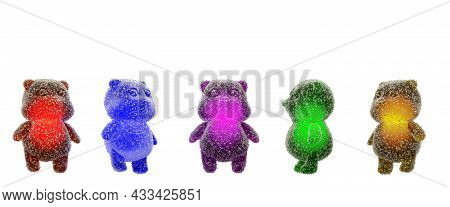 Gummy Bear Candy. Colorful Marmalade In Sugar, 3d Render. Delicious Jelly Gummy Bears Isolated On A