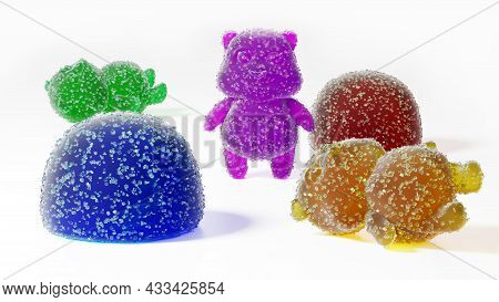 Gummy Bear Candy. Colorful Marmalade In Sugar, 3d Render. Delicious Jelly Gummy Bears On A White Bac