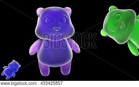 Multicolored Jelly Bean Bears Isolated On A Black Background. Jelly Bears Fruit Gummy. Gummy Bear Ca