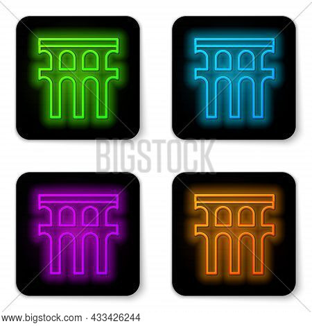 Glowing Neon Line Aqueduct Of Segovia, Spain Icon Isolated On White Background. Roman Aqueduct Build
