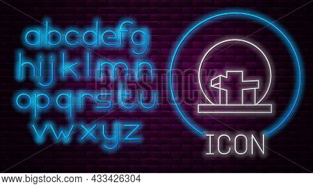 Glowing Neon Line Montreal Biosphere Icon Isolated On Brick Wall Background. Neon Light Alphabet. Ve