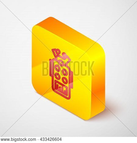Isometric Line Microphone Icon Isolated On Grey Background. On Air Radio Mic Microphone. Speaker Sig
