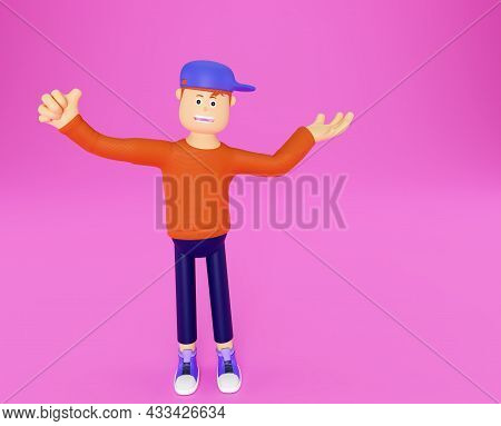 Cartoon Character Holds His Finger Up. Template For Advertising Your Product In 3d Style. Character