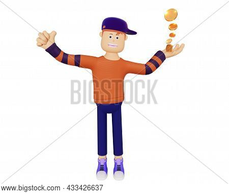 3d Cartoon Character Holding Dollar Coin. Concept Of Earnings For Young People, Capital Increase, Jo