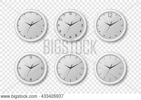 Vector 3d Realistic White Wall Office Clock Icon Set Isolated. White Dial. Design Template Of Wall C