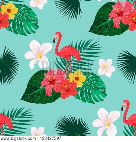 Seamless Pattern With Flamingo Bird, Tropical Leaves And Flowers. Repeated Tropical Background. Flat