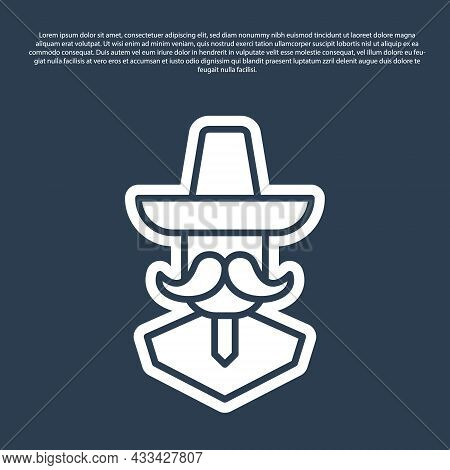 Blue Line Mexican Man Wearing Sombrero Icon Isolated On Blue Background. Hispanic Man With A Mustach