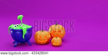 3d Banner For Halloween, Pumpkins And A Cauldron With Human Eyeballs. Realistic Eyes In A Witch's Ca