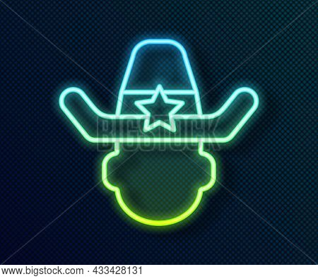 Glowing Neon Line Sheriff Cowboy Hat With Star Badge Icon Isolated On Black Background. Police Offic