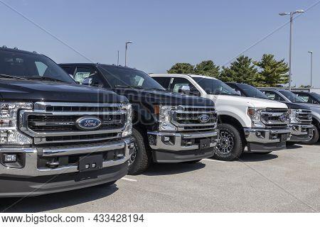 Kokomo - Circa September 2021: Ford F-series Trucks Display. The Ford F-150, Super Duty F-250, F-350