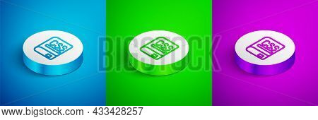 Isometric Line Books About Programming Icon Isolated On Blue, Green And Purple Background. Programmi