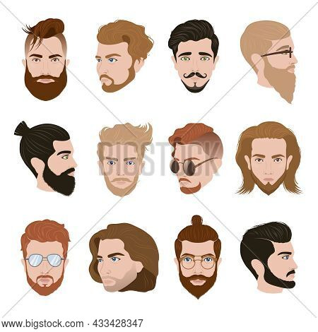 Men Hairstyle Collection With Beards Moustache Glasses Of Different Colors Isolated Vector Illustrat