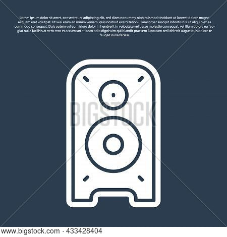 Blue Line Stereo Speaker Icon Isolated On Blue Background. Sound System Speakers. Music Icon. Musica