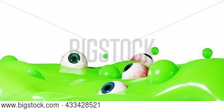 Colorful Halloween Background, With Green Poisonous Liquid And Human Eyes. 3d Design For Halloween.