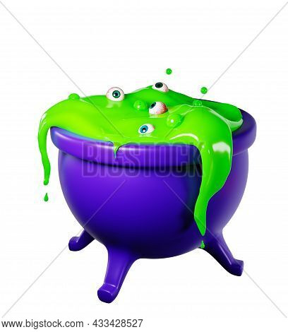 Witch's Cauldron With Bubbling Green Liquid And Human Eyes. 3d Design For Halloween. Bubbling Green