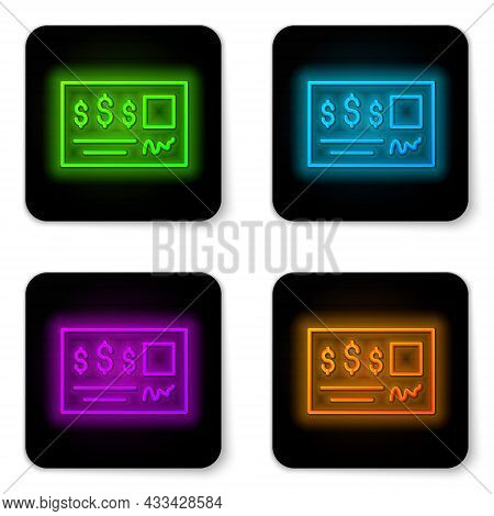 Glowing Neon Line Blank Template Of The Bank Check And Pen Icon Isolated On White Background. Checkb