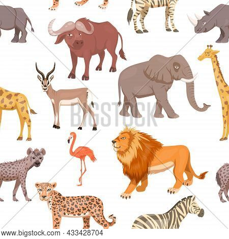 African Savannah Wild Animal Seamless Pattern. Lion, Rhino, Zebra, Buffalo, Giraffe, Flamingo, Leopa