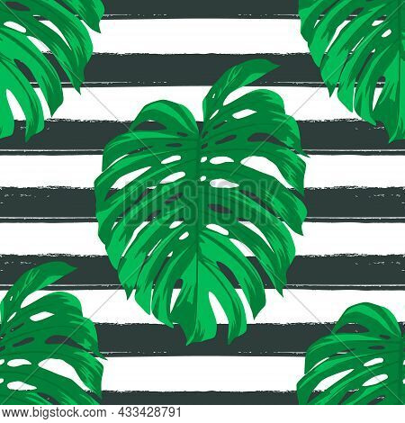 Seamless Pattern With Tropical Leaves On Striped Black And White Background. Repeated Tropical Flat