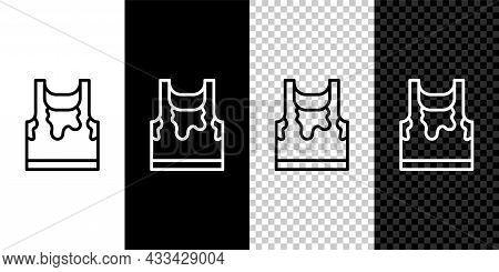 Set Line Sweaty Sleeveless Sport T-shirt Icon Isolated On Black And White, Transparent Background. V