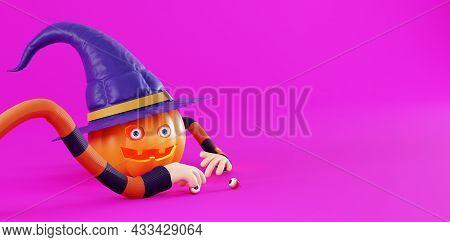 Advertising Banner For Halloween, 3d Render. Funny Pumpkin For Halloween In A Cartoon Style. Pumpkin