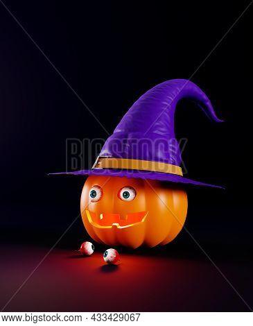 Creepy Halloween Greeting Card, 3d Render. Pumpkin With Human Eyeballs. Halloween Pumpkin With A Wit
