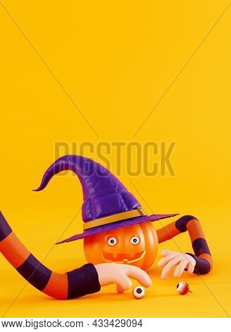 Invitation Card For A Halloween Party, 3d Render. Funny Pumpkin For Halloween In A Cartoon Style. 3d