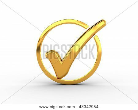 Golden ring with check mark