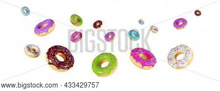 Falling Glazed Donuts With Sprinkles, Isolated On A White Background. Banner Design For A Candy Stor