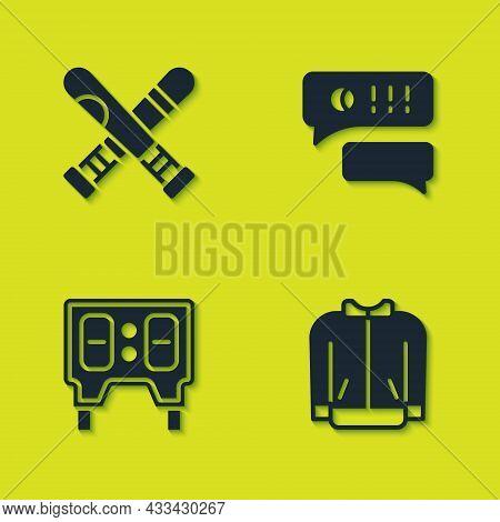 Set Crossed Baseball Bat, Baseball T-shirt, Mechanical Scoreboard And Speech Bubble Chat Icon. Vecto