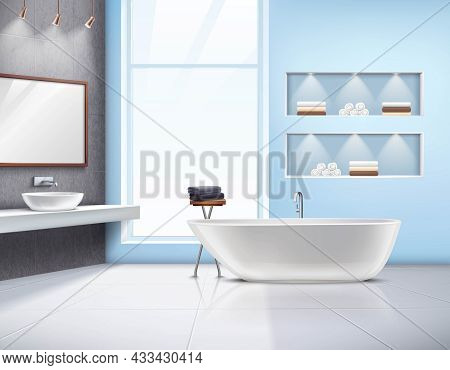 Modern Spacious Sunlit Bathroom Interior Realistic Design With White Bath Sink Accessories And Big W