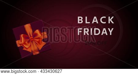 Black Friday Sale. Black Friday Sale Discount Flyer Template With Dark Gift Box And Red Bow. Vector