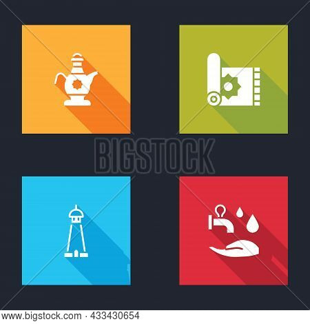 Set Islamic Teapot, Traditional Carpet, Mosque Tower Or Minaret And Wudhu Icon. Vector
