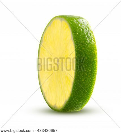 Round Lime Slice Glowing From Within. Green Lemon Lime Cut Closeup Detailed On White Background Isol