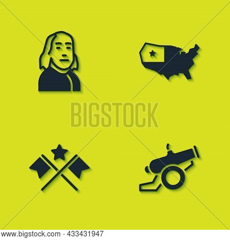 Set Benjamin Franklin, Cannon, American Flag And Usa Map Icon. Vector