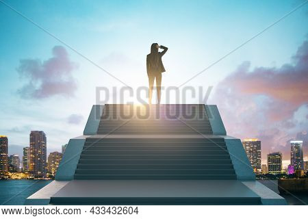 Back View Of Young European Businesswoman Standing On Top Of Stairs On Bright City Background With S