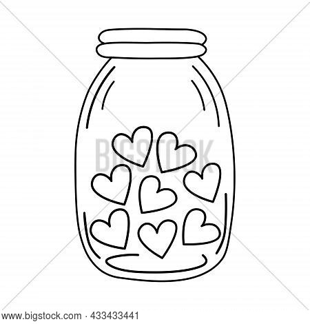Jar With Hearts. Wedding And Romance Concept. Vector Illustration In Doodle Style Isolated On White