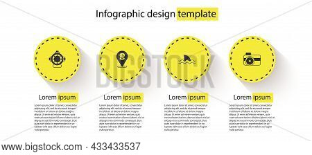 Set Aqualung, Scallop Sea Shell, Shark And Photo Camera For Diver. Business Infographic Template. Ve