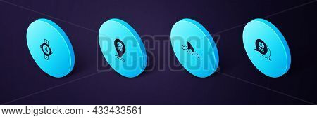 Set Isometric Scallop Sea Shell, Shark, And Diving Watch Icon. Vector
