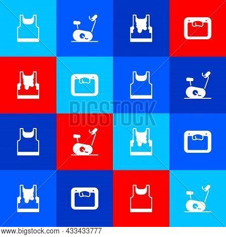 Set Sleeveless T-shirt, Stationary Bicycle, Sweaty Sleeveless And Bathroom Scales Icon. Vector