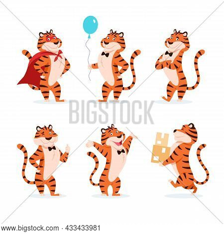 Cartoon Tigers Set. Holiday Characters For New Year 2022. Adorable Flat Chinese Symbol. Smiling Oran