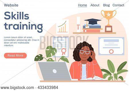 Skills Training Concept. Successful Smiling Black Woman Portrait With Laptop Diploma Trophy, Graduat