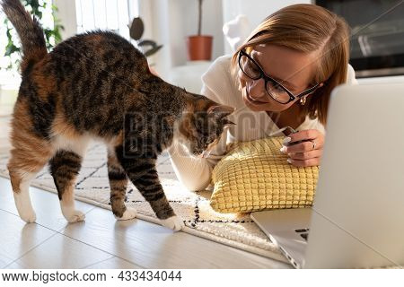 Young Woman Work Remotely From Home Playing With Cat. Freelancer Female Girl Or Student On Distance