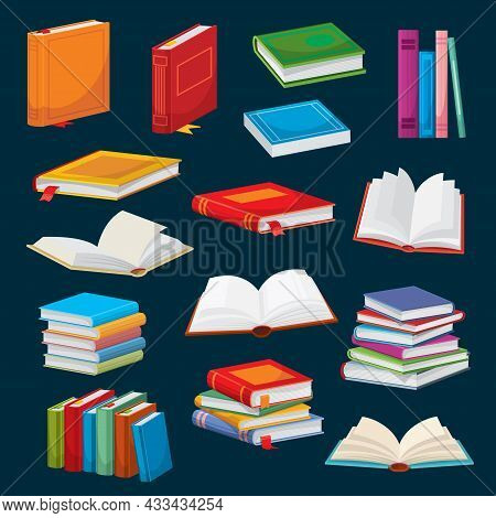 Cartoon Books, Bestsellers Or School Textbooks Vector Design Of Literature, Education And Knowledge.
