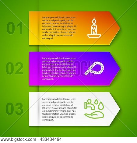 Set Line Burning Candle, Rosary Beads Religion And Wudhu. Business Infographic Template. Vector