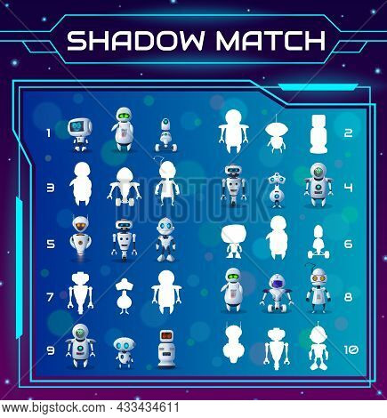 Cartoon Robots, Kids Education Shadow Match Game. Find Correct Cyborg Silhouettes Vector Riddle. Chi