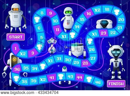 Kids Board Game With Cartoon Droids And Robots. Vector Step Boardgame With Cute Androids, Ai Cyborgs
