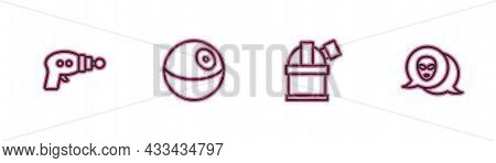 Set Line Ray Gun, Astronomical Observatory, Planet And Alien Icon. Vector