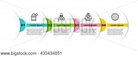 Set Line Astronomical Observatory, Rocket Ship, Space Capsule And Planet. Business Infographic Templ