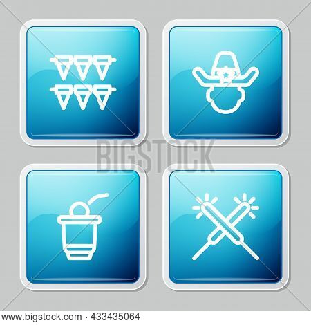 Set Line Carnival Garland With Flags, Sheriff Cowboy, Beer Pong Game And Sparkler Firework Icon. Vec