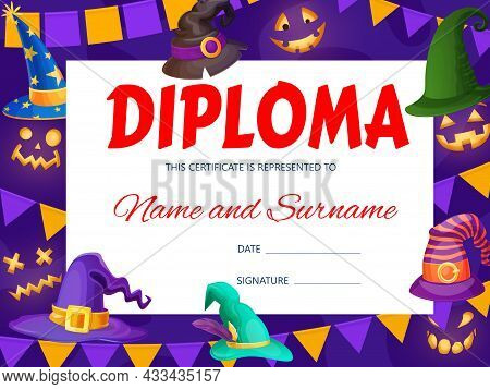 Halloween Kids Diploma With Wizard And Witch Hats. Vector Template Of Education School Certificate W